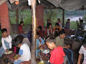 children eating at orphanage