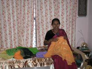 Rekha's mother sewing the girls dresses for our wedding