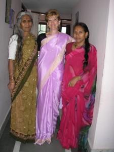 Dressed in a sari