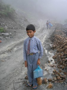 A boy who wanted his picture taken on way to school