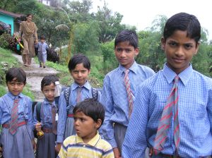 Boys on way to school in Himalayan mountains