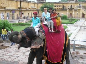 Riding an elephant
